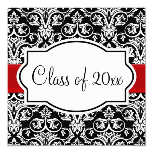 Black/White Damask Red Ribbon Square Graduation Personalized Invite
