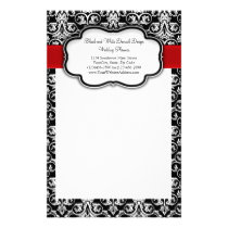Black/White Damask Red Ribbon Stationery