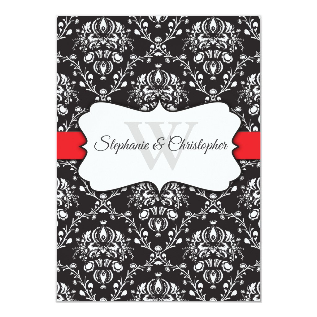 Black White Damask Red Stripe Frame Wedding