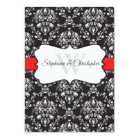 Black White Damask Red Stripe Frame Wedding Invitation