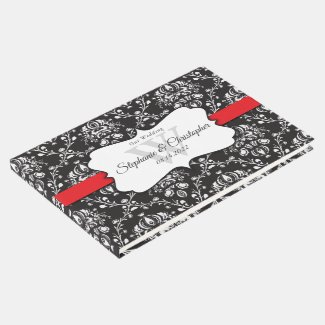 Black White Damask Red Stripe Wedding Guest Book