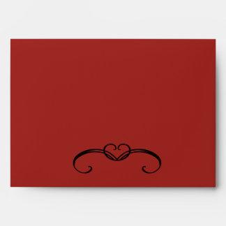 Black & White Damask Red Swirl Envelope