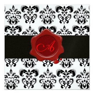 BLACK & WHITE DAMASK, RED WAX SEAL MONOGRAM Ice 5.25x5.25 Square Paper Invitation Card