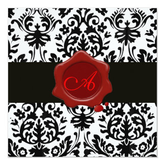 BLACK & WHITE DAMASK, RED WAX SEAL MONOGRAM Ice 5.25x5.25 Square Paper Invitation Card