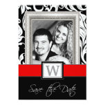 Black White Damask & Red  Wedding Save the Dates Card