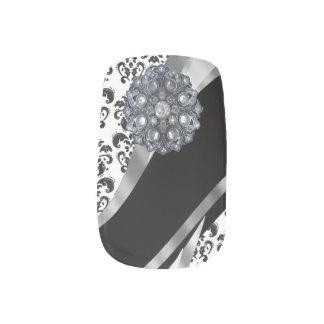 Black white damask rhinestone pattern minx nail wraps