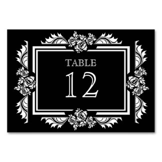 Black & White Damask Roses Table Number Cards