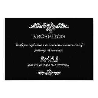 Black & White Damask Roses Wedding Reception Card