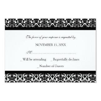 "Black White Damask RSVP Wedding Card 3.5"" X 5"" Invitation Card"