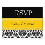 Black & White Damask RSVP - Yellow Personalized Invite