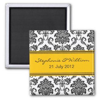 Black & White Damask Save The Date Magnet zazzle_magnet