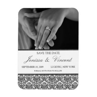 """Black & White Damask Save the Date Magnet 3"""" x 4"""""""