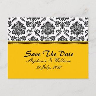 Black & White Damask Save The Date zazzle_postcard