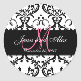 Black White Damask Save the Date Stickers