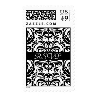 Black & White Damask Scroll RSVP Postage Stamp