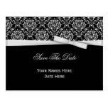 Black White Damask Silver Bow Ribbon Save The Date Postcards