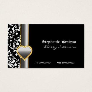 Black white damask silver grey heart business card