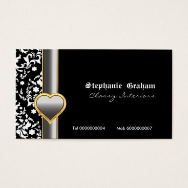 Professional Business Black white damask silver grey heart business card