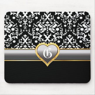 Black white damask, silver grey heart monogram mouse pad