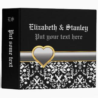 Black white damask, silver grey heart wedding vinyl binder
