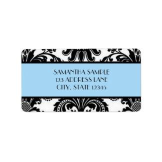 Black & White Damask, Sky Blue Label