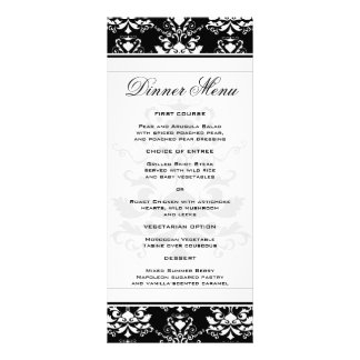 Black & White Damask Slim Dinner Menu