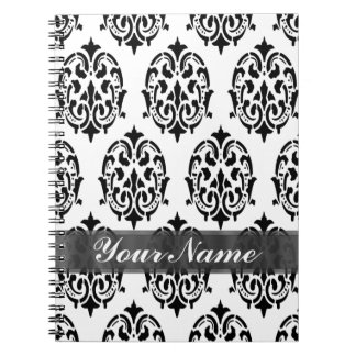 Black & white damask spiral notebooks