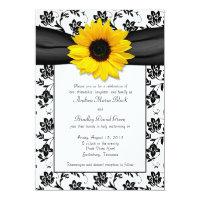 Black White Damask Sunflower Wedding Invitation (<em>$2.27</em>)