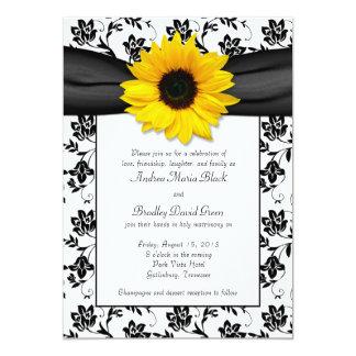 "Black White Damask Sunflower Wedding Invitation 5"" X 7"" Invitation Card"