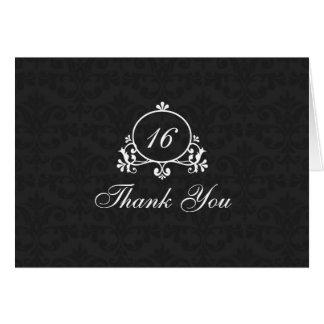 Black & White Damask Sweet 16 Thank You Card