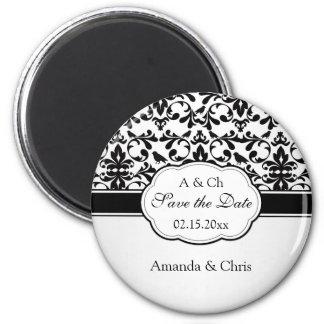 Black white Damask swirls, birds Save the Date Wed Magnet