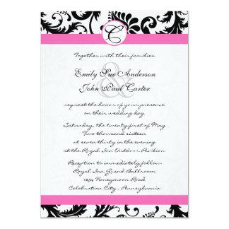 Black & White Damask Swirls Hot Pink Trim Card