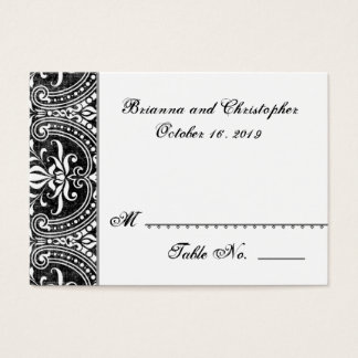 Black White Damask Table Place Card Wedding Party