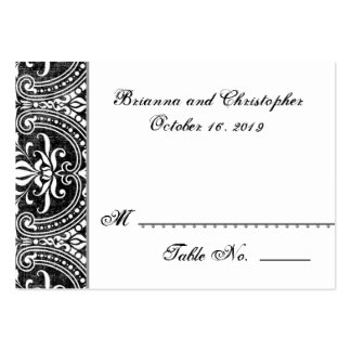 Black White Damask Table Place Card Wedding Party Large Business Cards (Pack Of 100)