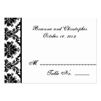 Black White Damask Table Place Card Wedding Party Large Business Card