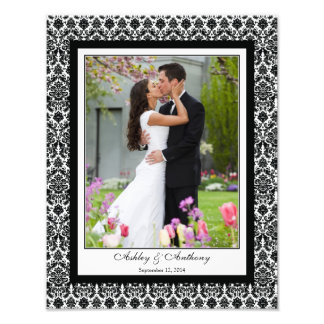 Black White Damask Template Photographic Print