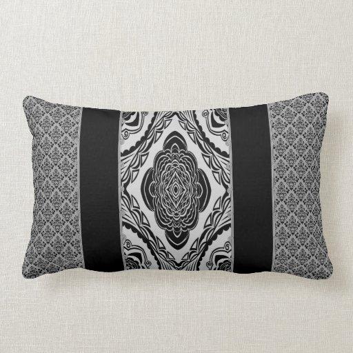 Damask Throw Pillows Black White : Black & White Damask Throw Pillow Lumbar Zazzle