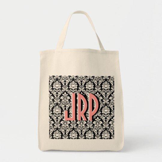 Black & White Damask Tote Bag