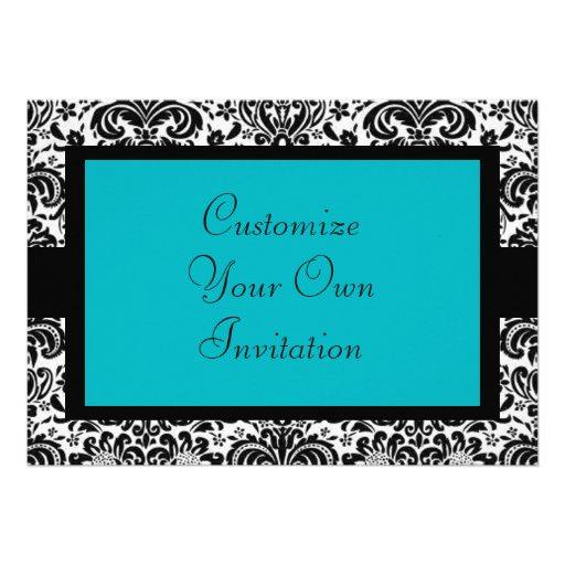 Black & White Damask, Turquoise Personalized Invite