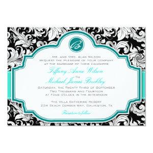 Black white damask turquoise wedding invitation 5