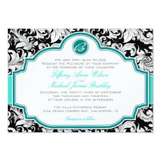 Turquoise Black Wedding Invitations & Announcements | Zazzle
