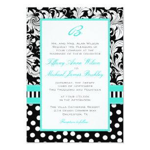 Black White Damask Turquoise Wedding Invitation