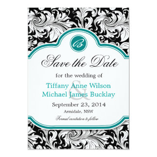 Black White Damask Turquoise Wedding Save The Date Card