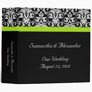 Black/White Damask w/Chartreuse Green Accent Strip 3 Ring Binder