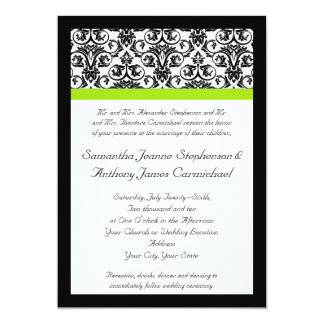 Black/White Damask w/Chartreuse Green Accent Strip Card