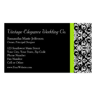 Black/White Damask w/Chartreuse Green Accent Strip Double-Sided Standard Business Cards (Pack Of 100)