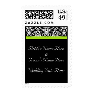 Black/White Damask w/Chartreuse Green Accent Strip Stamps