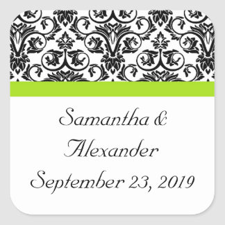 Black/White Damask w/Chartreuse Green Accent Strip Square Sticker