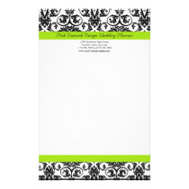 Black/White Damask w/Chartreuse Green Accent Strip Stationery