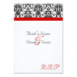Black/White Damask w/ Ravishing Red Accent 3.5x5 Paper Invitation Card